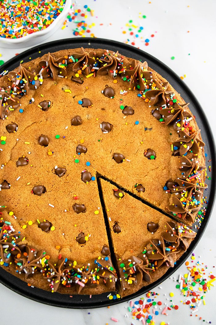 Chocolate Chip Cookie Cake With one Slice
