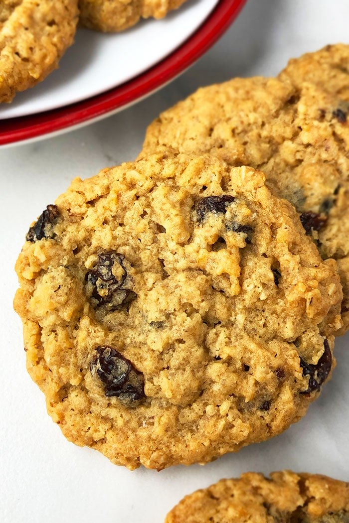 Chewy Oatmeal Cookies with Raisins- Closeup