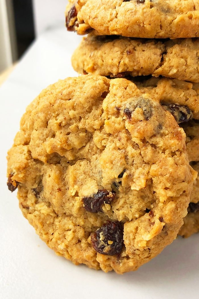 Soft and Chewy Oatmeal Raisin Cookies- Side Angle