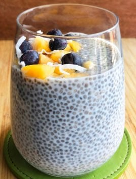 Homemade Chia Seed Pudding in a Clear Cup