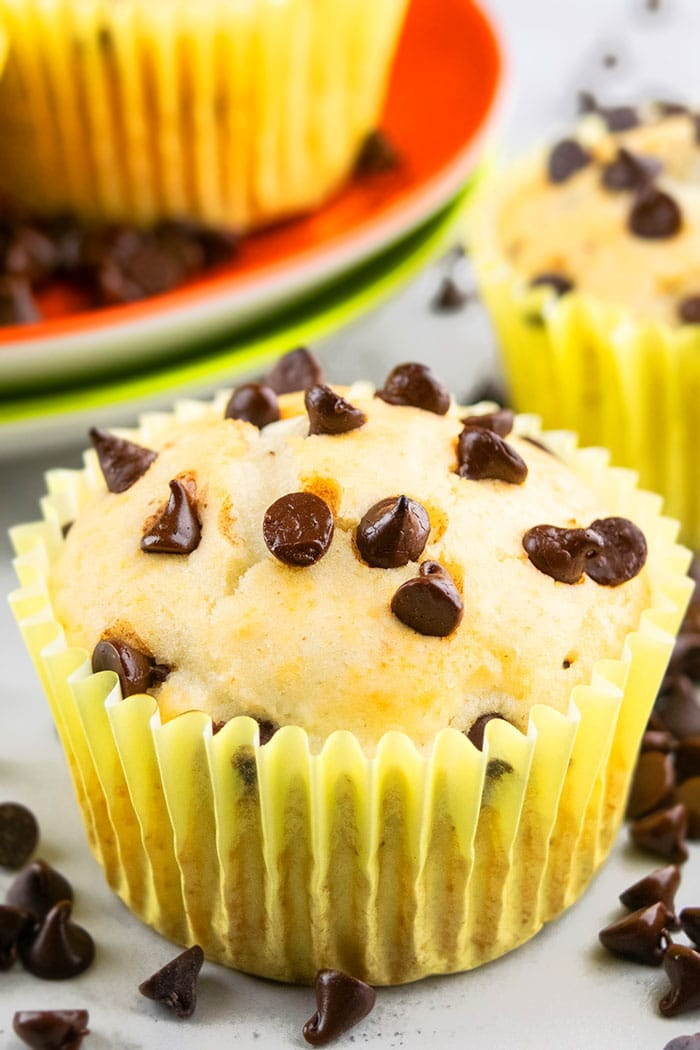 Easy Chocolate Chip Muffin in Yellow Liner