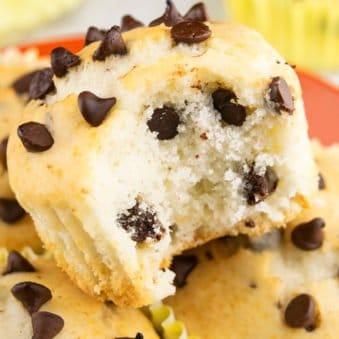 Plate of Best Chocolate Chip Muffins- Closeup Shot