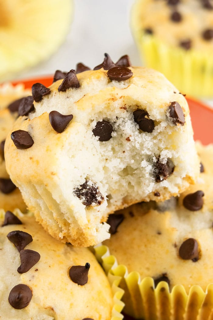 Closeup Shot of Chocolate Chip Muffin With a Bite