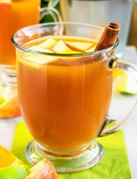 Spiced Hot Apple Cider in Glass Cup with Cinnamon Stick on Green Napkin