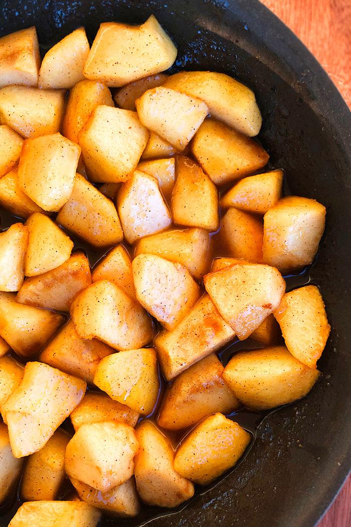 Sauteed Cinnamon Apples in Black Pan