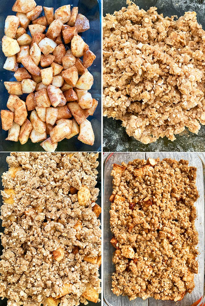 Step by Step Process Shot Collage For Old Fashioned Apple Crisp