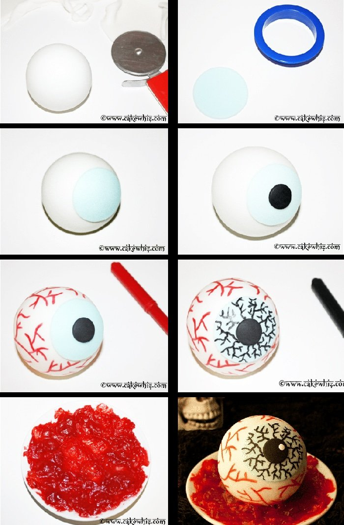 How to Make Eyeball Cake- Step By Step Instructions Collage