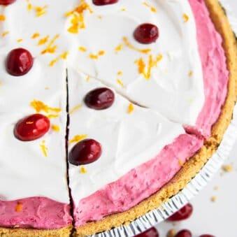 Easy No Bake Cranberry Pie Recipe on White Background