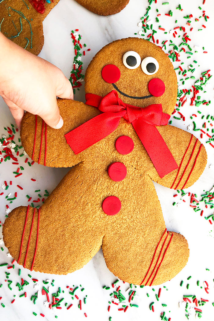 Kid's hand Holding a Gingerbread Cookie on White Background