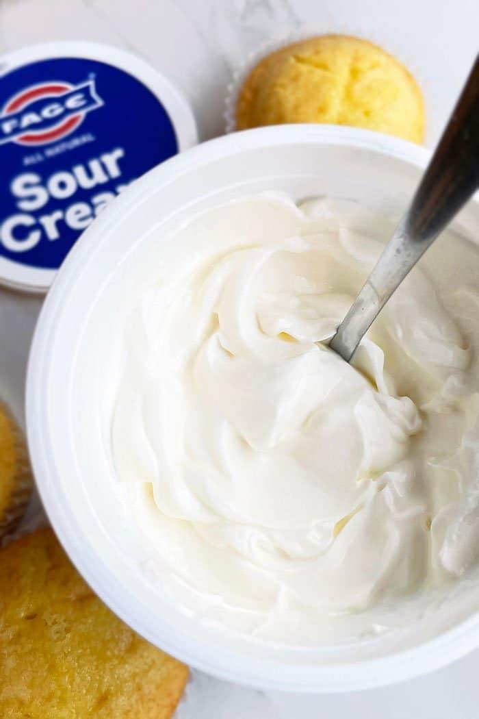 Jar of Sour Cream Texture- Overhead Shot
