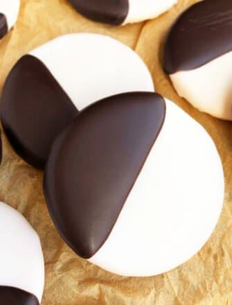 Easy Homemade NYC Black and White Cookies on Brown Paper