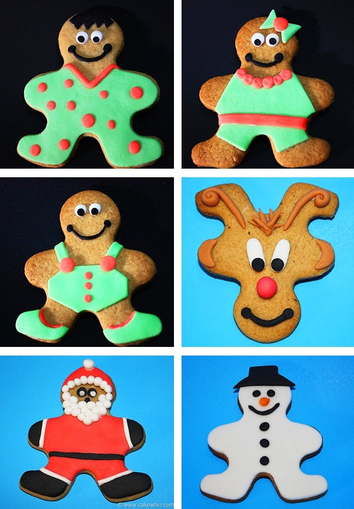 Collage Image of Various Christmas Cookies Made With One Cutter- Snowman, Santa, Rudolf