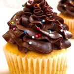Easy Homemade Butter Yellow Cupcakes With Chocolate Frosting and Sprinkles on White Background