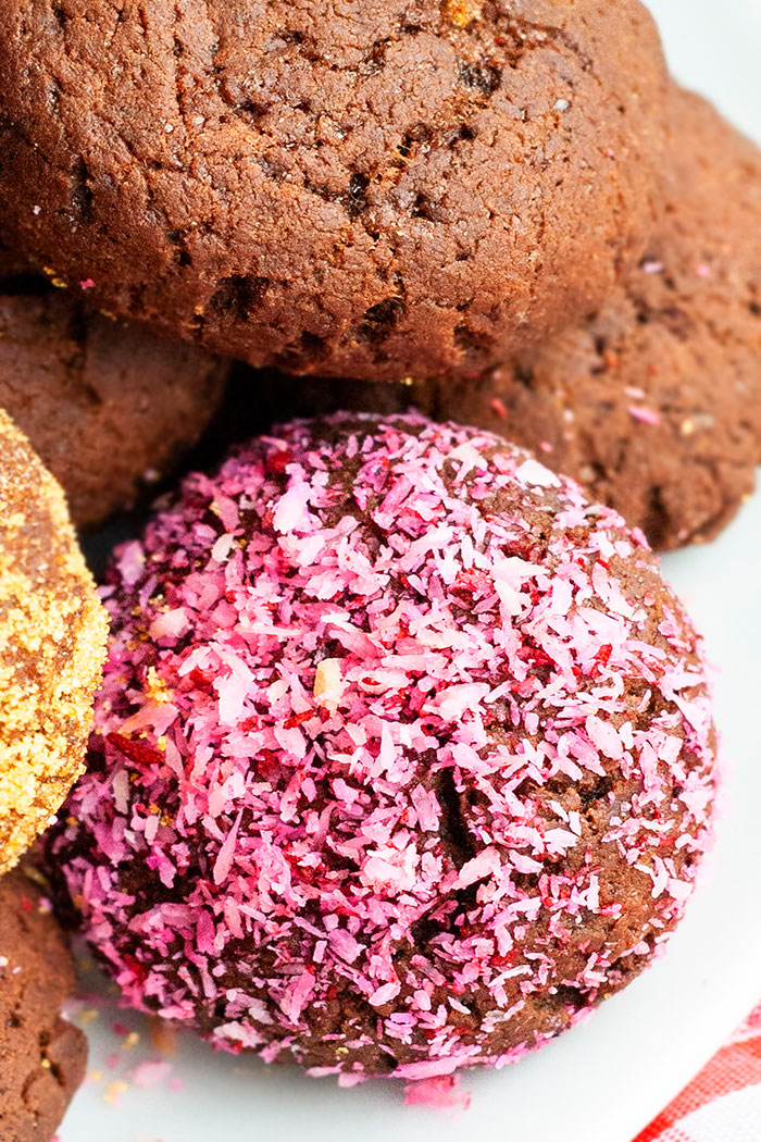 Closeup Shot of Chocolate Coconut Cookies in White Plate