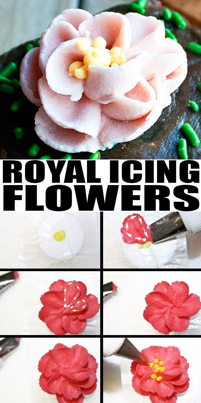 Collage Image of Step By Step Process Shots For Making Royal Icing Flowers