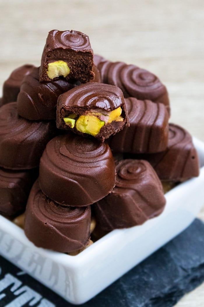 Best Homemade Chocolates in White Bowl- Overhead Shot