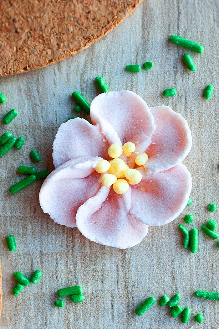 Overhead Shot of Pink Sugar Flower Made of Royal Icing on Wood Background
