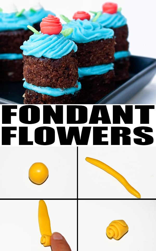 Collage Image with Step by Step Pictures For How to Make Mini Fondant Flowers