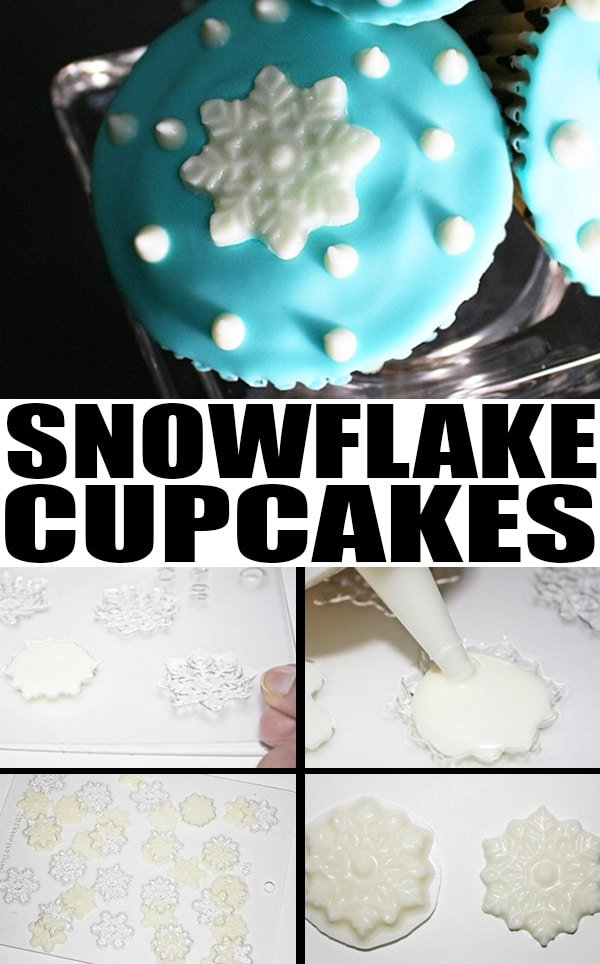 Collage Image With Step by Step Instructions for Making Winter Snowflake Cupcakes