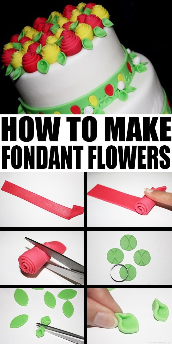 Collage Image with Step by Step Pictures For How to Make Fondant Roses