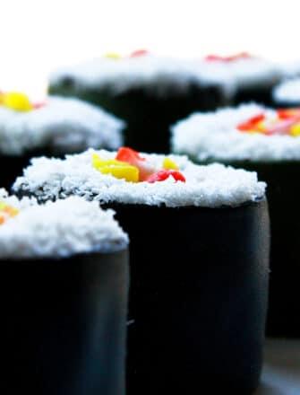 Easy Homemade Birthday Sushi Cake on White Tray With White Background