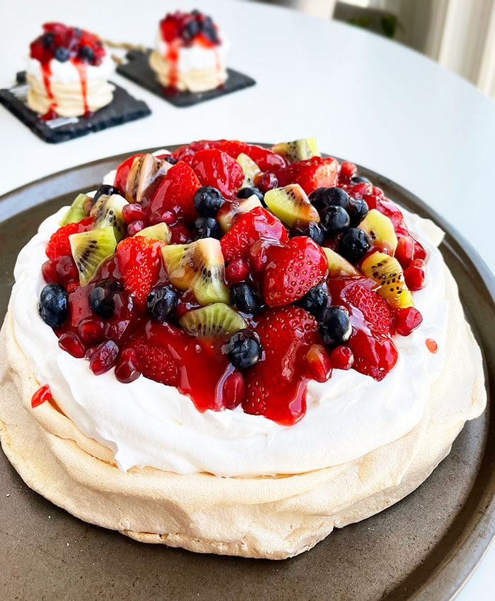 Easy Homemade Strawberry Pavlova on Round Baking Tray