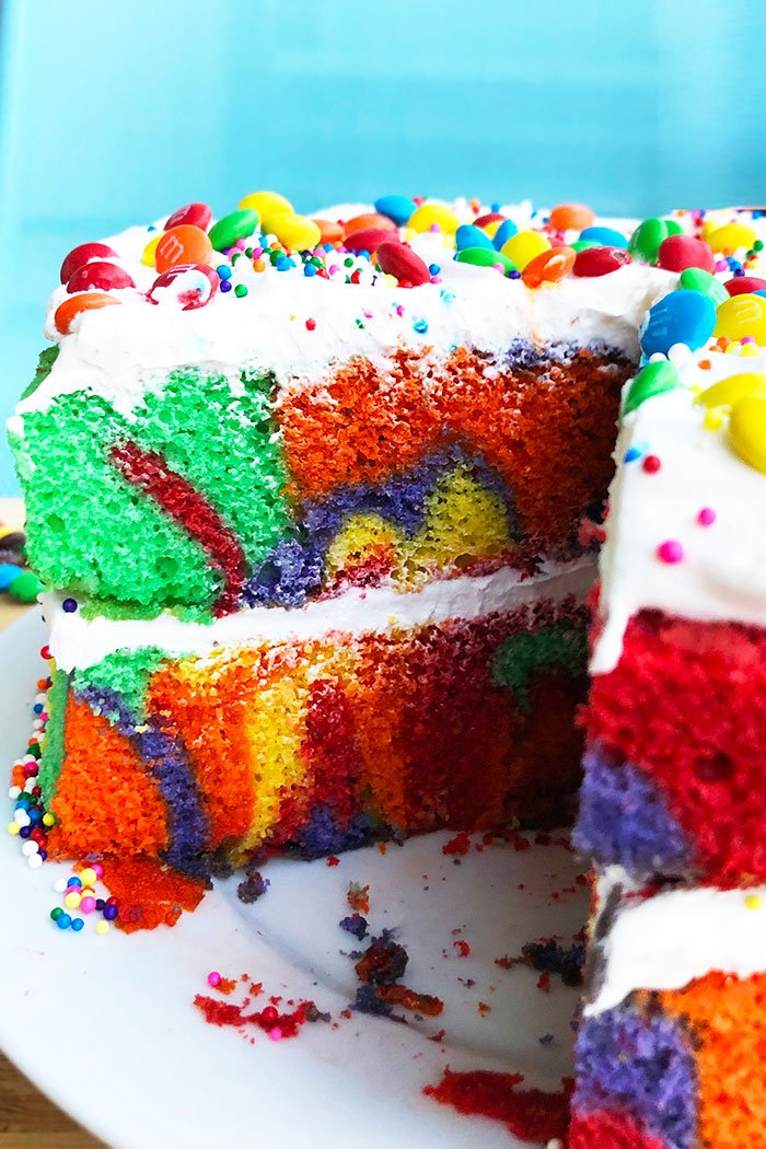 Closeup Shot of the Inside of Rainbow Birthday Cake With Slice Removed