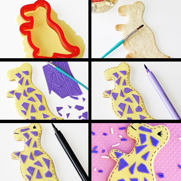 Collage Image With Step by Step Process Shots on How to Make Dinosaur Cookies