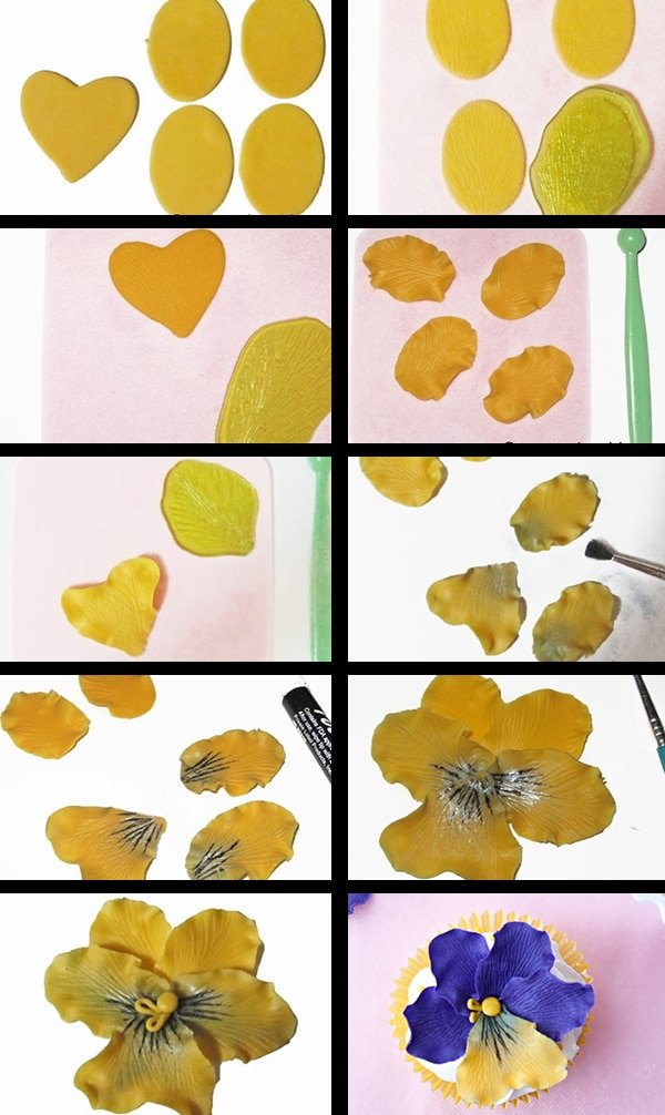 Collage Image With Step By Step Process Shots on How to Make Flower Cupcakes