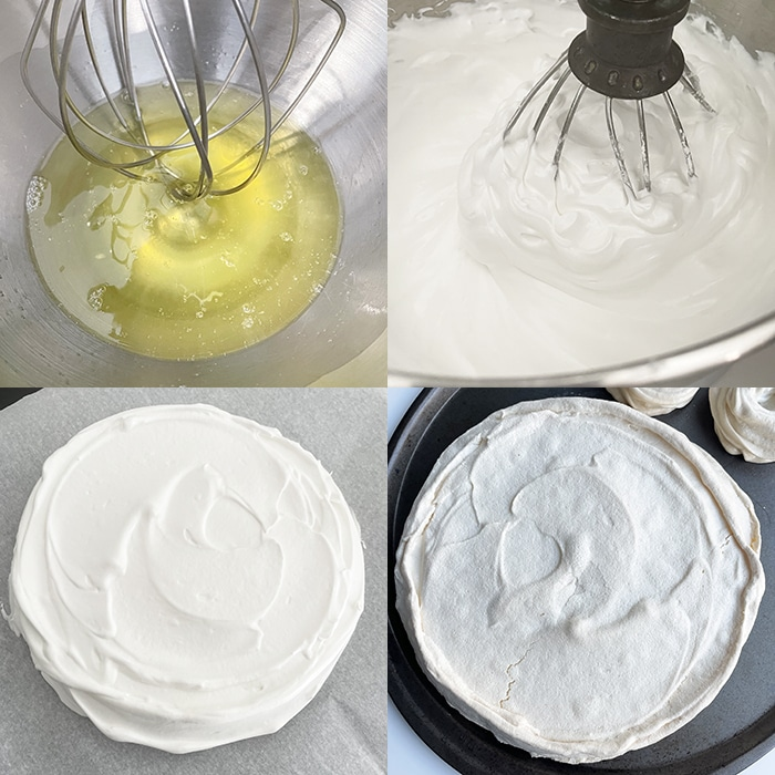 Collage Image With Step by Step Pictures on How to Make Pavlova Dessert