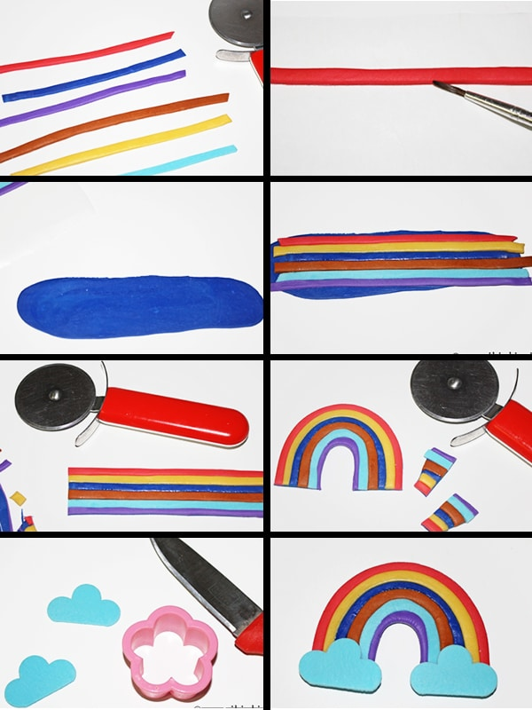 Collage Image With Process Shots on How to Make Fondant Rainbow Cake Topper