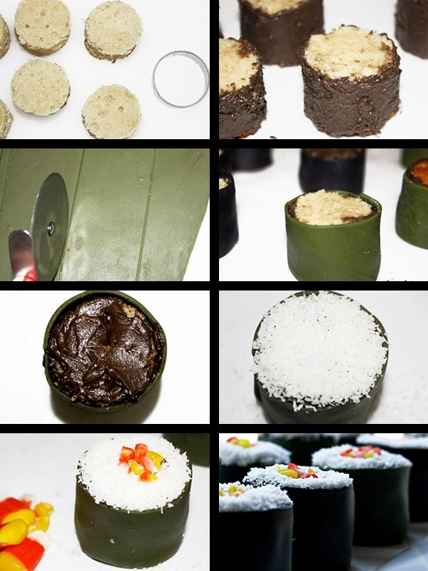 Collage Image With Step by Step Process Shots on How to Make Sushi Shaped Cake