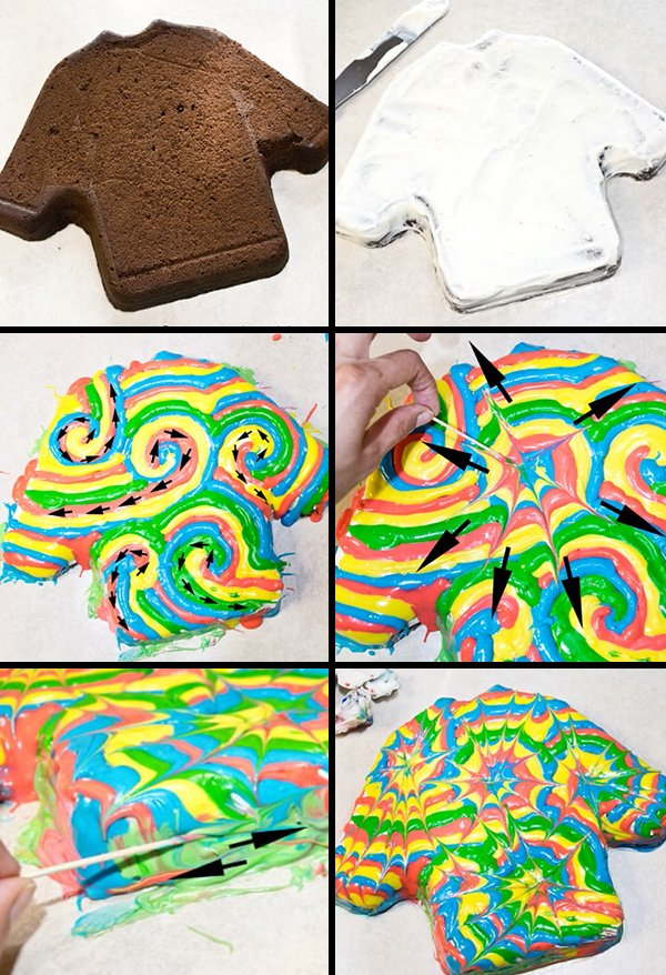 Collage Image with Step by Step Process Shots on How to Make Shirt Cake with Tie Dye Design