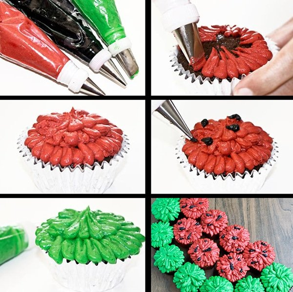 Collage Image with Step by Step Process Shots on How to Make Watermelon Cupcakes