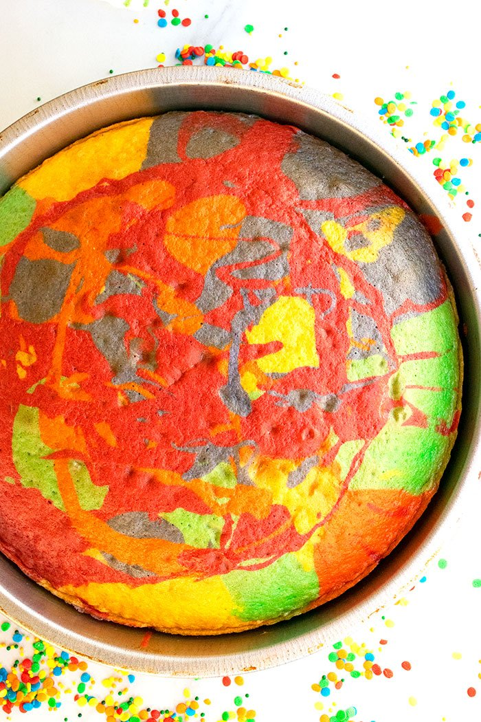 Unfrosted Freshly Baked Rainbow Swirl Cake in Silver Pan on White Background