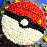 Easy Pokemon Cake (Pokeball Cake) on Square Gray Plate- Overhead Shot