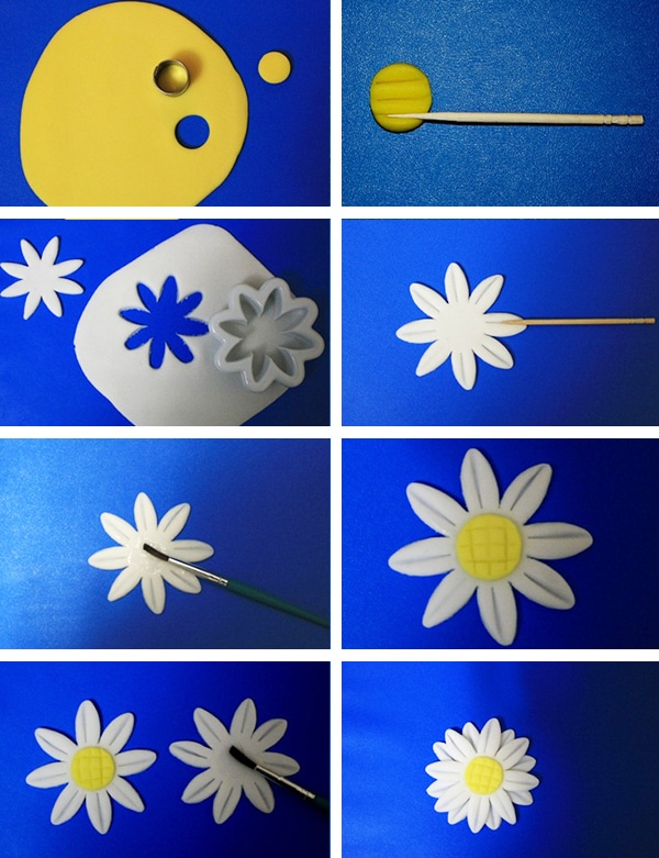 Collage Image With Step By Step Pictures on How to Make Fondant Daisies