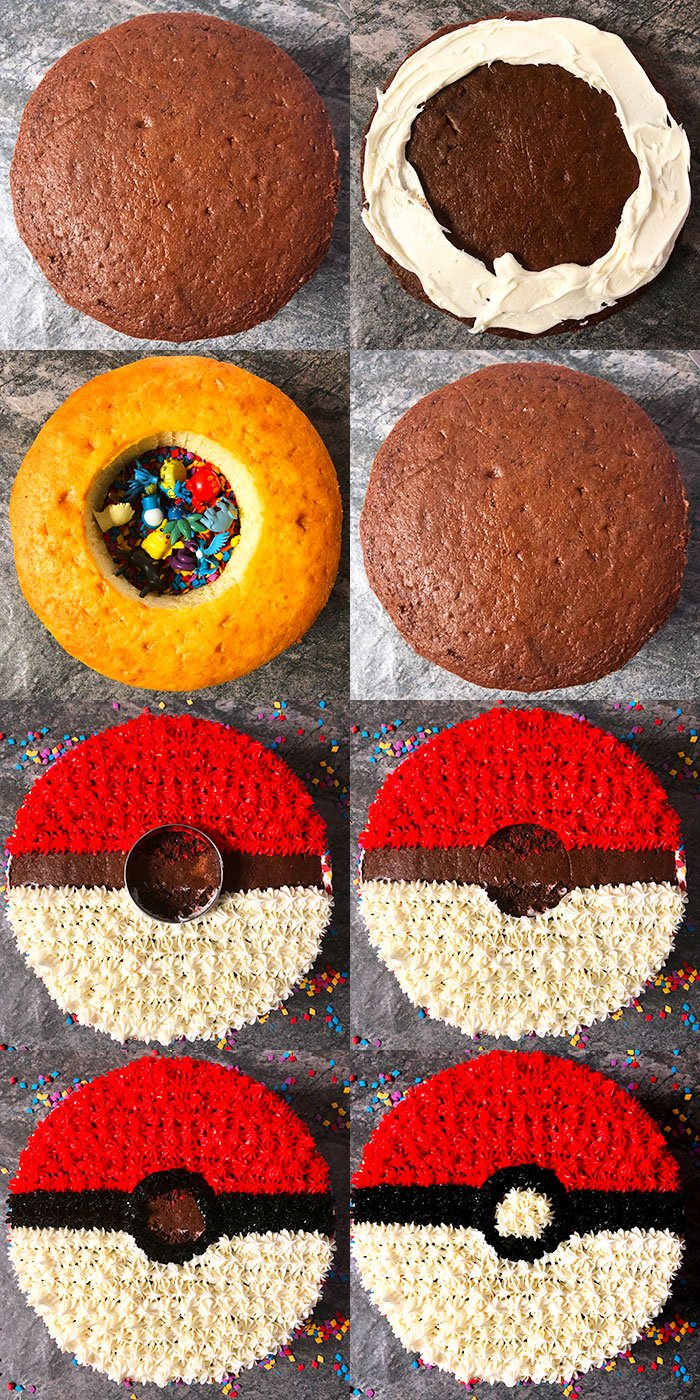 Collage Image With Step By Step Process Shots on How to Make Pokemon Cake (Pokeball Cake)