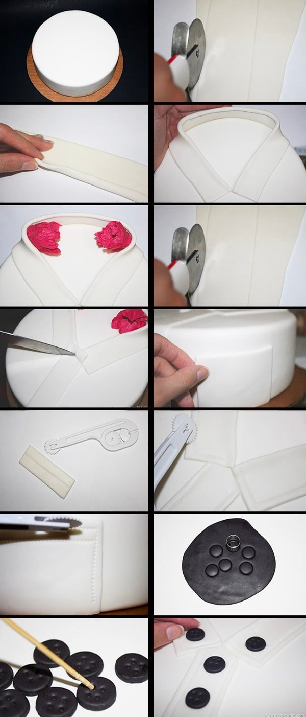 Collage Image With Step by Step Pictures on How to Make Round Shirt Cake