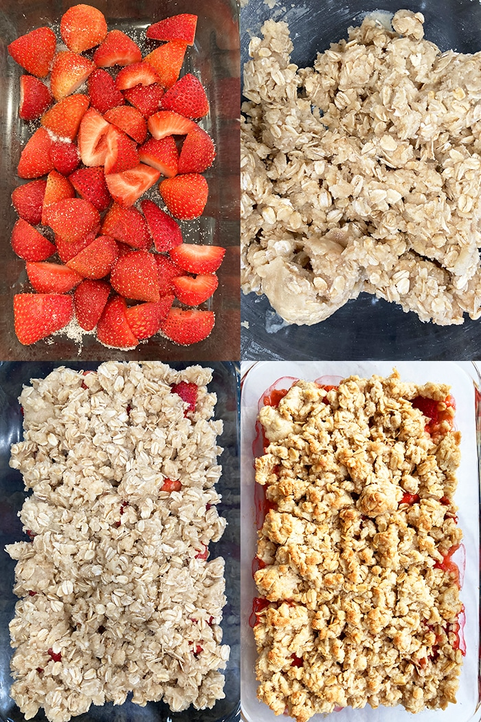 Collage Image With Step by Step Process Shots on How to Make Strawberry Crumble or Strawberry Crisp