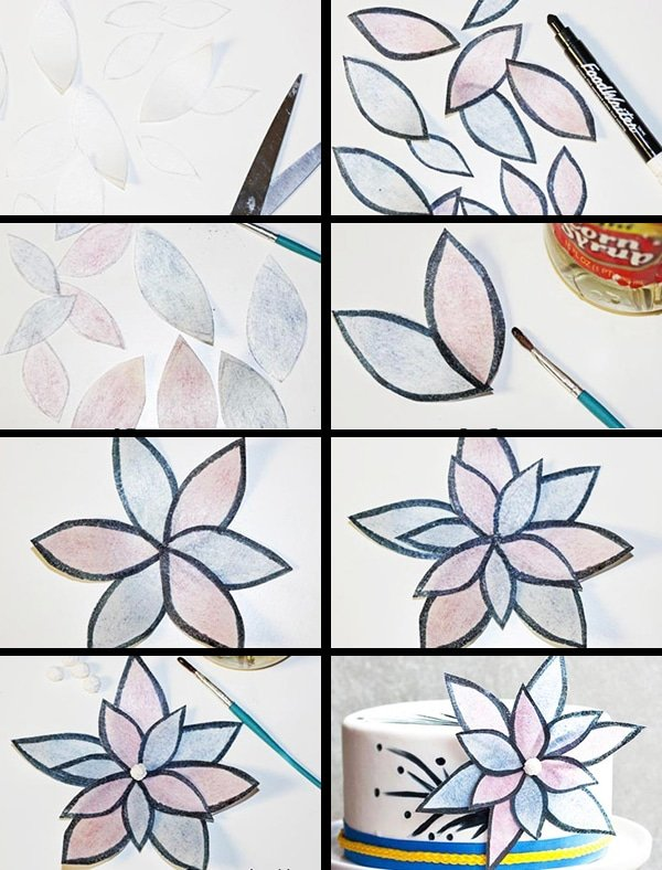 Collage Image With Step by Step Pictures on How to Make Wafer Paper Flowers