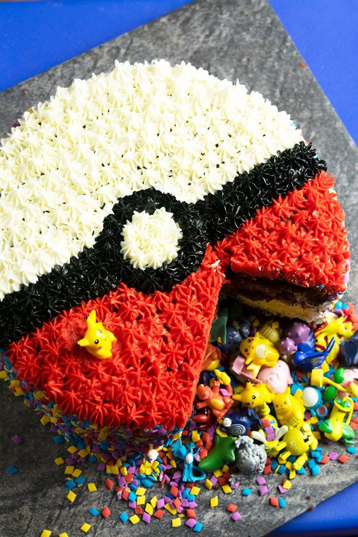 Homemade Pokemon Cake With One Slice Removed