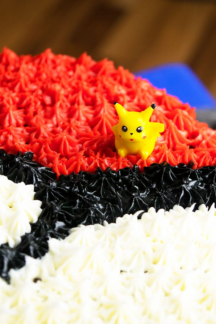 Easy Homemade Birthday Cake With Closeup Shot of Tiny Pikachu Toy