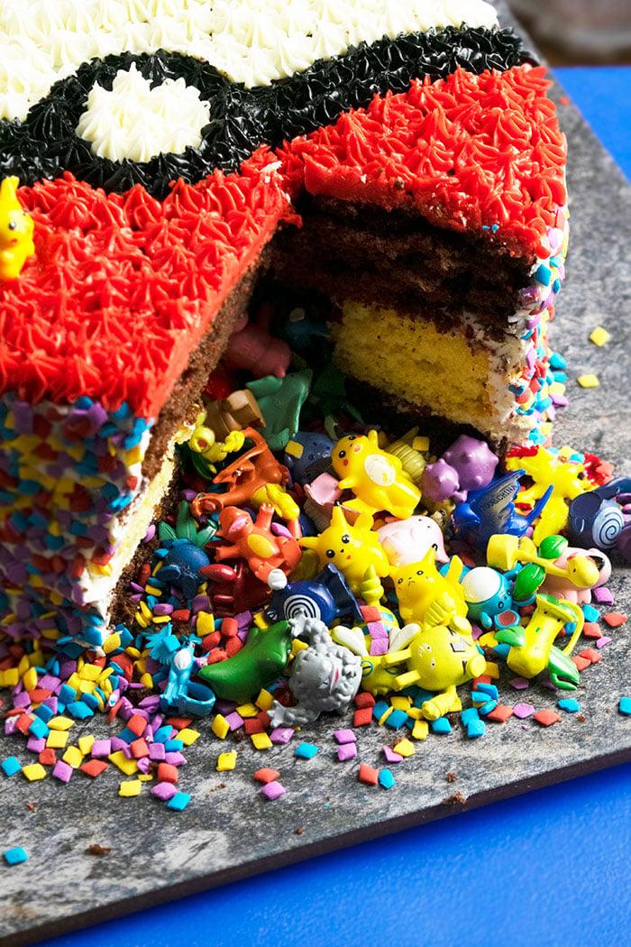 Closeup Shot of Inside of Pinata Pokemon Birthday Cake