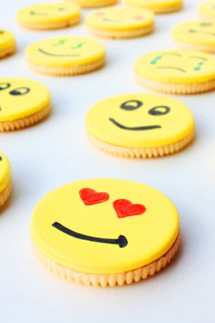 Closeup Shot of Emoji in Love Oreos on White Background