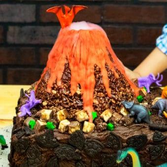 Erupting Chocolate Volcano Cake With Dry Ice Smoke on Wood Table