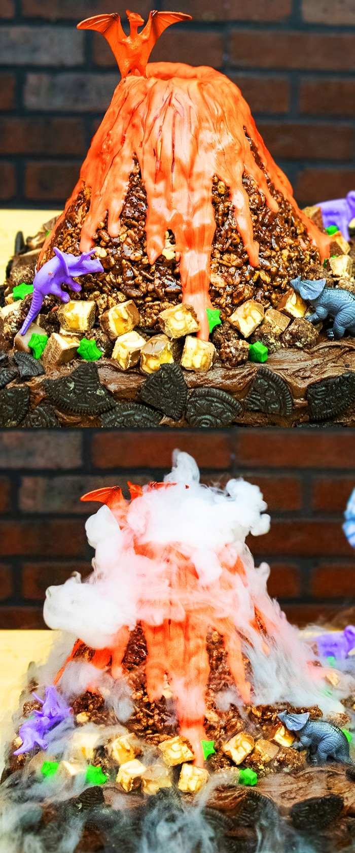 Collage Image With 2 Pictures Showing Volcano Cake Erupting with Smoke And Without Smoke