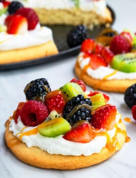 Easy Dessert Pizza With Fresh Fruits on Marble Background
