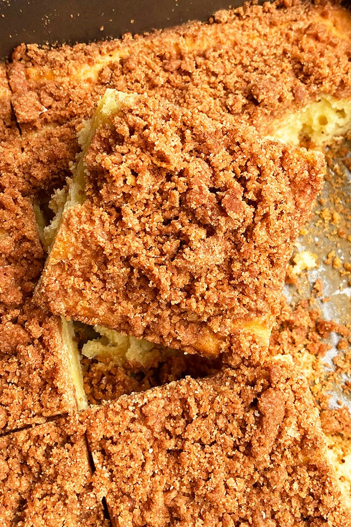 Closeup Shot of Slice of Homemade Crumble Cake