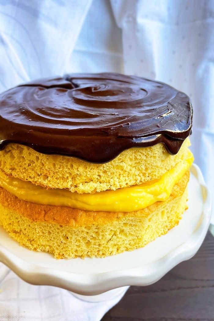 Easy Boston Cream Pie With Cake Mix on White Cake Stand